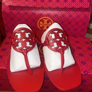 TORY BURCH RED LEATHER MILLER SQUARE-TOE SANDAL